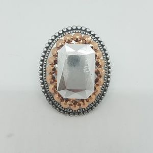 Rosewater rhinestone fancy stone ring sample